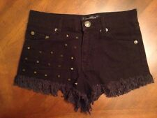 Choies Spiked Studded Distressed Black Slightly High Waisted Shorts Size S (xs)