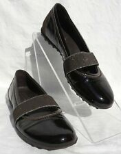 GEOX RESPIRA BROWN SILVER PATENT LEATHER SLIP ON MARY JANE SHOES size 6.5