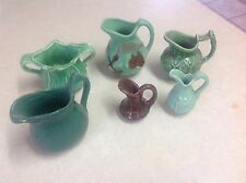 Lot Of 6 Vintage Green Pottery Mini Pitchers, Creamers, Sugar Bowl