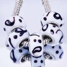 5Pcs GF Silver White Crystal MURANO GLASS lampwork charms european beads