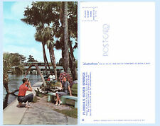Man Camera taking Picture Pretty Girl Silver Springs Florida Postcard Boat Lake