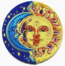SUN & MOON sun with swirl & stars EMBROIDERED IRON-ON PATCH *Free Shipping p3876