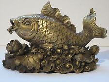 Vintage Asian Gilt Bronze Lucky Fish And Lotus Flower Figurine Statue