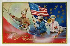 circa 1908 BOY with Wooden Sword 4th of July embossed postcard
