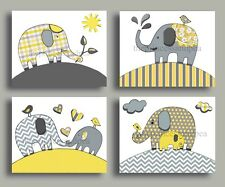 YELLOW GRAY CHEVRON NURSERY WALL ART ELEPHANT DECOR MOM BABY CHILDREN UNISEX ART