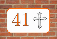 House Door Number Sign Christian Cross Design Metal Door Sign