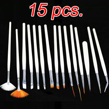 Set of 15 Nail Art Painting Gel Polish Brushes Fingernail / Toenail