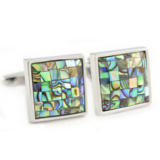 Abalone Shell Mosaic Cufflinks in Gift Box sea green square pattern AJ383 NEW