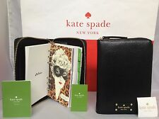 NWT Christmas Gift Kate Spade Black Wellesley 2017 Zip Around Planner Agenda
