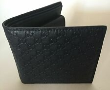 New Gucci Men's Wallet Bi-Fold Navy Blue Signature GG Microguccissima Card Case