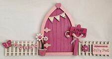Personalised Shimmer Pink Blossom Fairy Door With Fencing