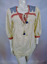 Juicy Couture Womens Cream Embroidered Yoke Gypsy Top Blouse UK Size 6 8 sn