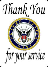 """US Navy Thank You For Your Service 10"""" x 14"""" Printed Cotton Quilt Block"""