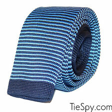 New Luxury Mens 2 Tone Blue Stripe Woven Tie (Necktie Solid Men Knitted Skinny)