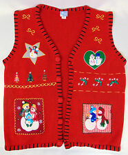 Large UGLY CHRISTMAS SWEATER Button RED Vest Kissing Snowmen Family Candy Canes