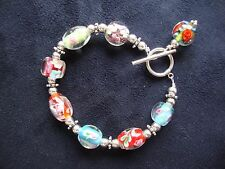 Vintage Handcrafted Murano Colorful Flowery Glass Bead Silver Plated Bracelet