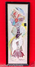 VINTAGE ABSTRACT GREEK NARCISSUS MERMAID FISH PAINTING SIGNED LENI FONTAINE 1962