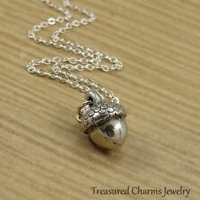 Silver Acorn Necklace - Autumn Fall Nature Nut Charm Pendant NEW