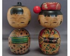 Vintage Japanese pair of lovely nodder Kokeshi doll with kimono  1704050