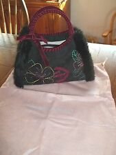 Antonio Melani Black Suede with Embroidery & Dust Bag Handbag Purse