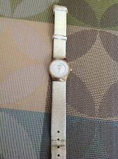 Skagen Womans Gold Tone Watch With Mother Of Pearl Inlay Worn Band....