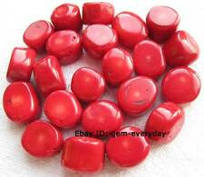 12-16mm Red Coral Freeform Loose Beads 15""