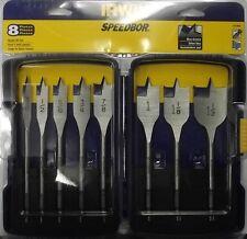 """Irwin 341008 8 Piece Speedbor Spade Drill Bit Set  3/8"""" to 1 1/2"""""""