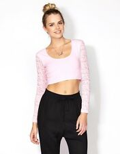 Womens Supre Size M/12 long sleeved Crop Top - lace sleeves - PALE PINK - BNWT