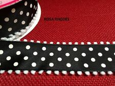 CHRISTMAS WIRE EDGED RIBBON - BLACK SATIN WITH WHITE POLKA DOTS