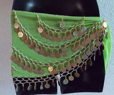 Belly Dancer Scarf Sash Coin Dangle Lime Green Shawl Long Plus Size Belt NWT 388