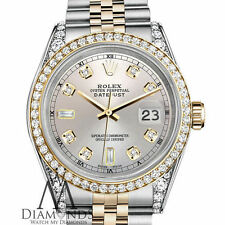 Rolex 36mm Datejust Two-Tone Silver 8+2 Diamond Numbers 18K Bezel Diamond Arms
