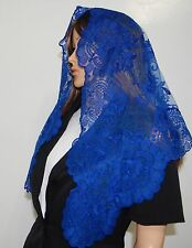 Royal Blue Spanish style veil mantilla