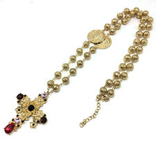 Baroque Cross Large Byzantine Style Sweater Chain Cross Necklace Female Flowers