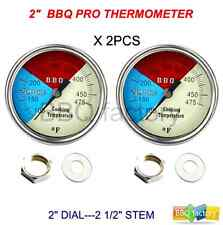 """2"""" 475F (2-pack) BBQ CHARCOAL GRILL PIT WOOD SMOKER TEMP GAUGE THERMOMETER New"""