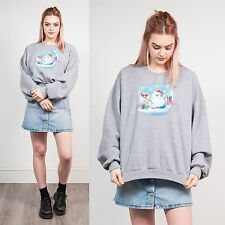 WOMENS VINTAGE GREY SNOWMAN CHRISTMAS SWEATSHIRT JUMPER SWEATER XMAS 18 20