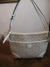 Brand New Women's Coach Peyton Convertible Hobo beige & white leather handbag