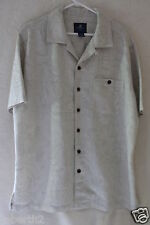 Caribbean Joe Hawaiian Camp Style Shirt Tan Large 60/40 Rayon/Poly