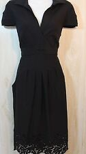 BCBG Maxazria Black Knit Dress Lace Trim Size M 8 10
