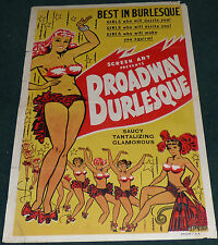BROADWAY BURLESQUE 1951 ORIGINAL 1 SHEET MOVIE POSTER VINTAGE RARE DANCING
