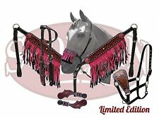 5 Piece PINK Bling & Fringe Western Leather Bridle & Breast Collar Tack Set