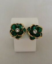 SWAROVSKI EMERALD GREEN & CLEAR BEZEL-SET FACETED CRYSTAL CLUSTER CLIP EARRINGS