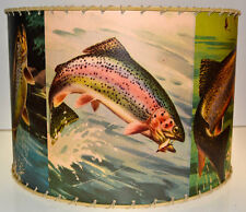 "Adirondack Trout Fishing lamp Drum shade 12"" x 12"", Rustic Cabin Decor"