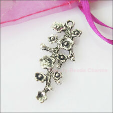 5 New Charms Tibetan Silver Branch Flower Pendants DIY 17x42mm
