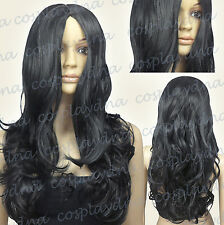 24 inch Hi_Temp Series Black Midpart Curly Wavy Cosplay DNA Wigs 38001