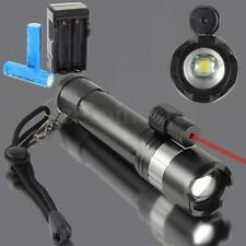 Elfeland 5000LM T6 LED Zoomable Zoom Focus Flashlight Torch Lamp + Red Laser