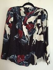 =CUTE= CARVEN Bordeaux Red Floral White Sequins Crinkle Taffeta Top Blouse AU 10