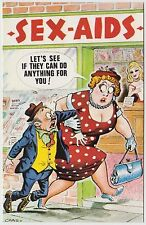 SAUCY POSTCARD - seaside comic, dominant fat lady sex aids shop, Bamforth #619