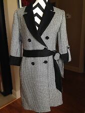 Ann Taylor Coat Black Hounds Tooth Acrylc Blend Size S