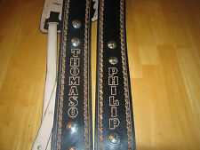 """CUSTOM MADE LEATHER GUITAR STRAP BLACK (YOUR NAME) & SILVER CONCHOS 3 1/2"""" WIDE"""