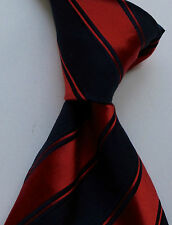 Paul Smith Gorgeous Red with Navy  striped heavy quality Silk Tie.Made in Italy